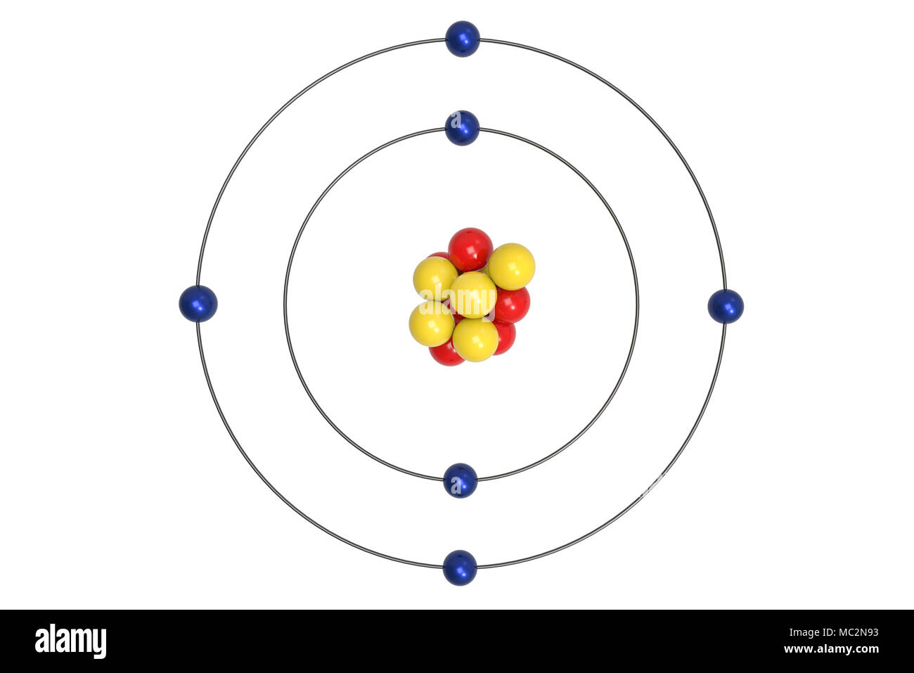 hight resolution of carbon atom bohr model with proton neutron and electron 3d illustration stock image