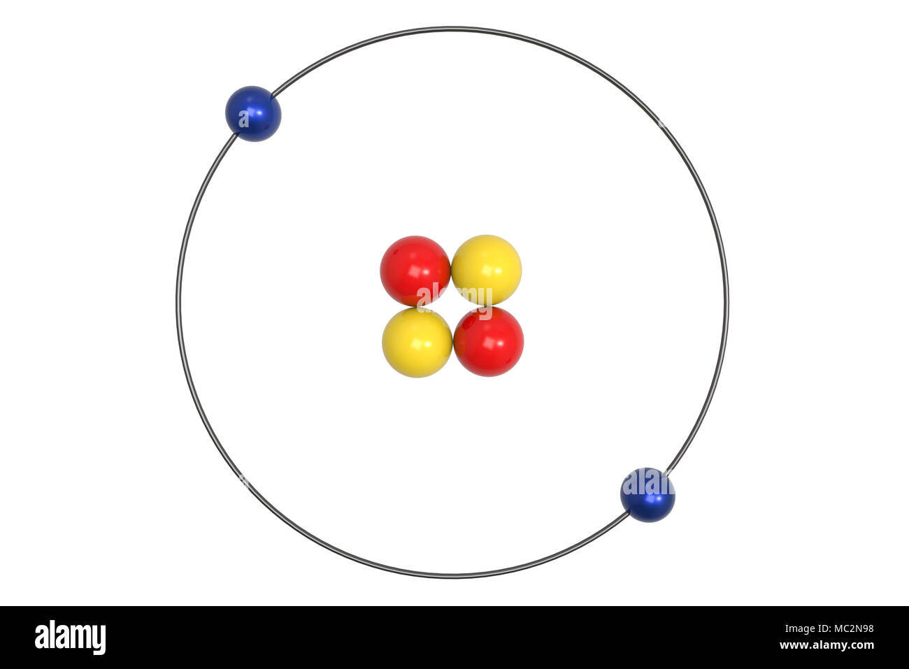 hight resolution of helium atom bohr model with proton neutron and electron science and chemical concept 3d