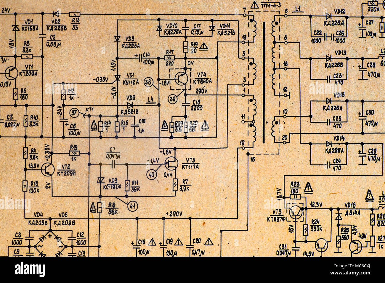 hight resolution of electronic schematic diagram of retro television stock image