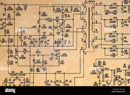 small resolution of electronic schematic diagram of retro television stock image