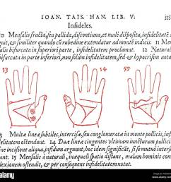 palmistry example of late mediaeval palmistry three diagrams depicting the relationship of the three main lines  [ 1300 x 1271 Pixel ]