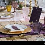 Vintage Layout Of Mat Plates Cutlery Glasses And Flowers As A Wedding Breakfast Display On Wood With Purple Runner At The Deerpark Hotel Stock Photo Alamy