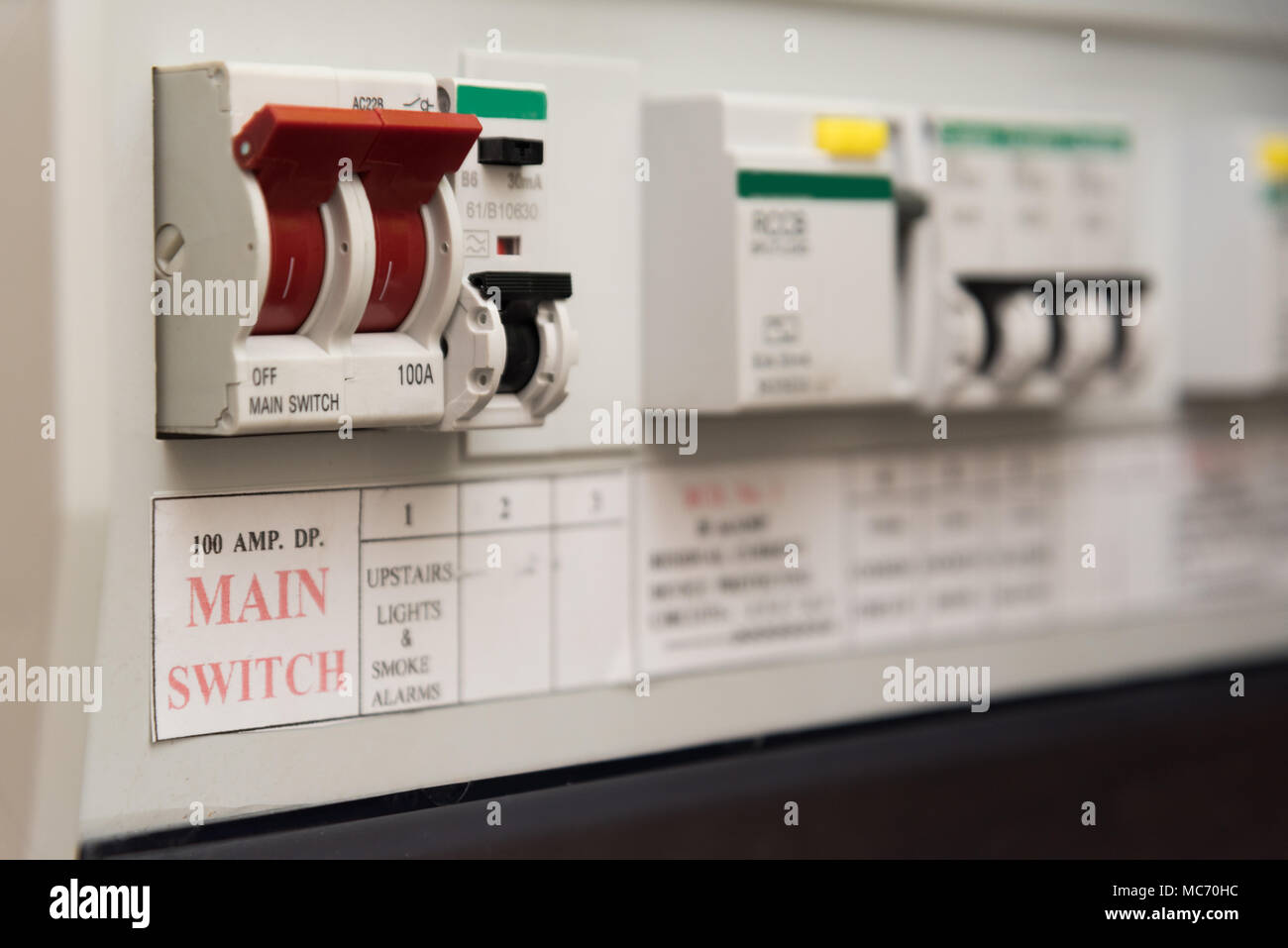 hight resolution of close up of a mcb micro circuit breaker on a uk domestic electrical consumer unit or fuse box
