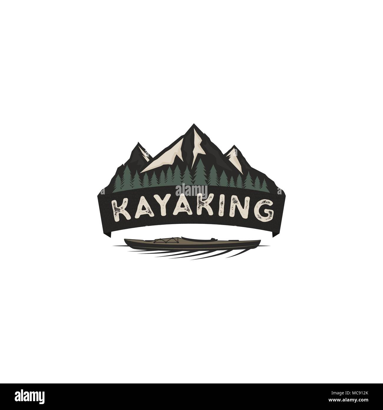 kayaking vintage badge mountain