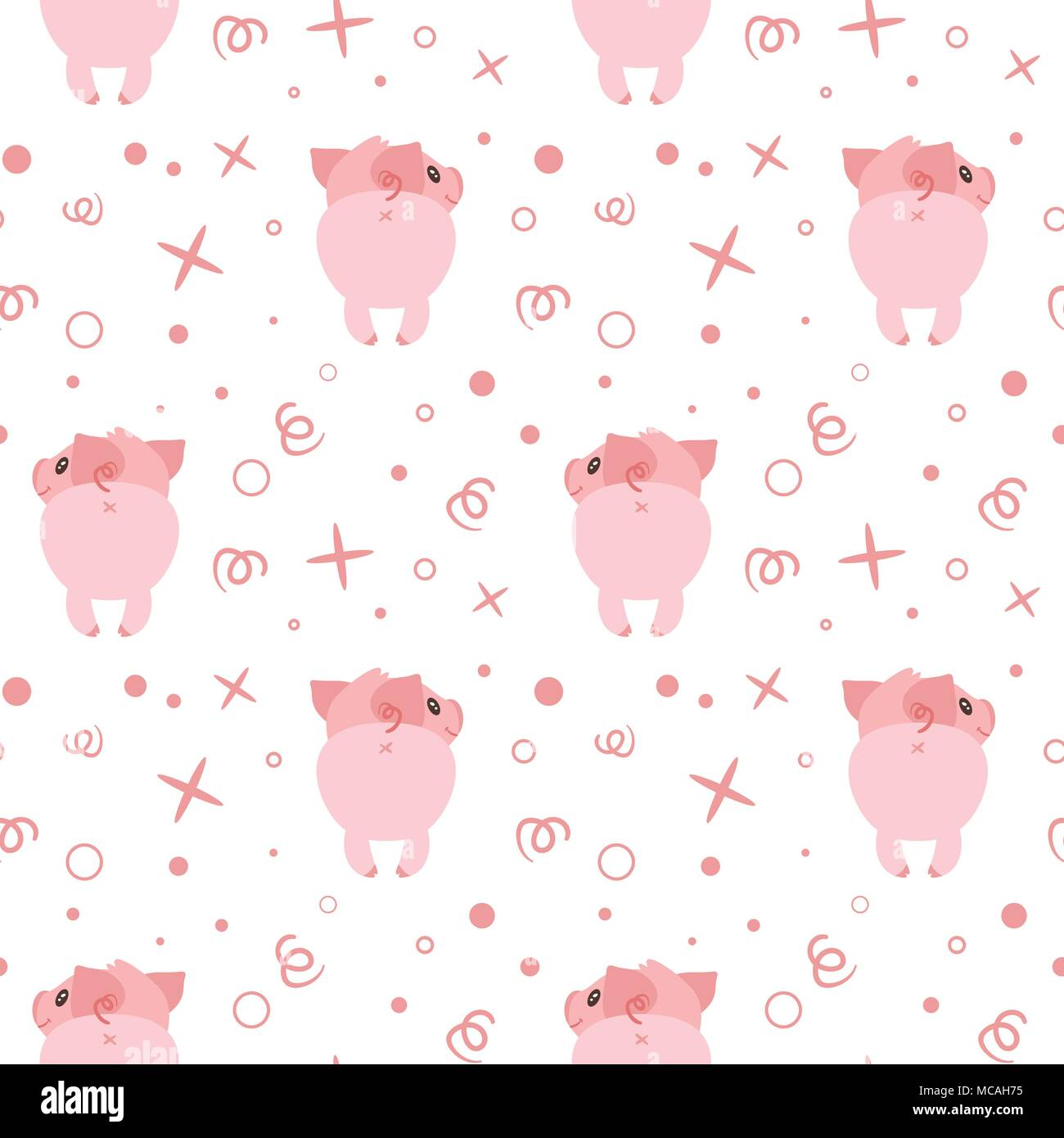 Cute Pink Pig Wallpaper Vector Cartoon Style Seamless Pattern With Cute Pigs