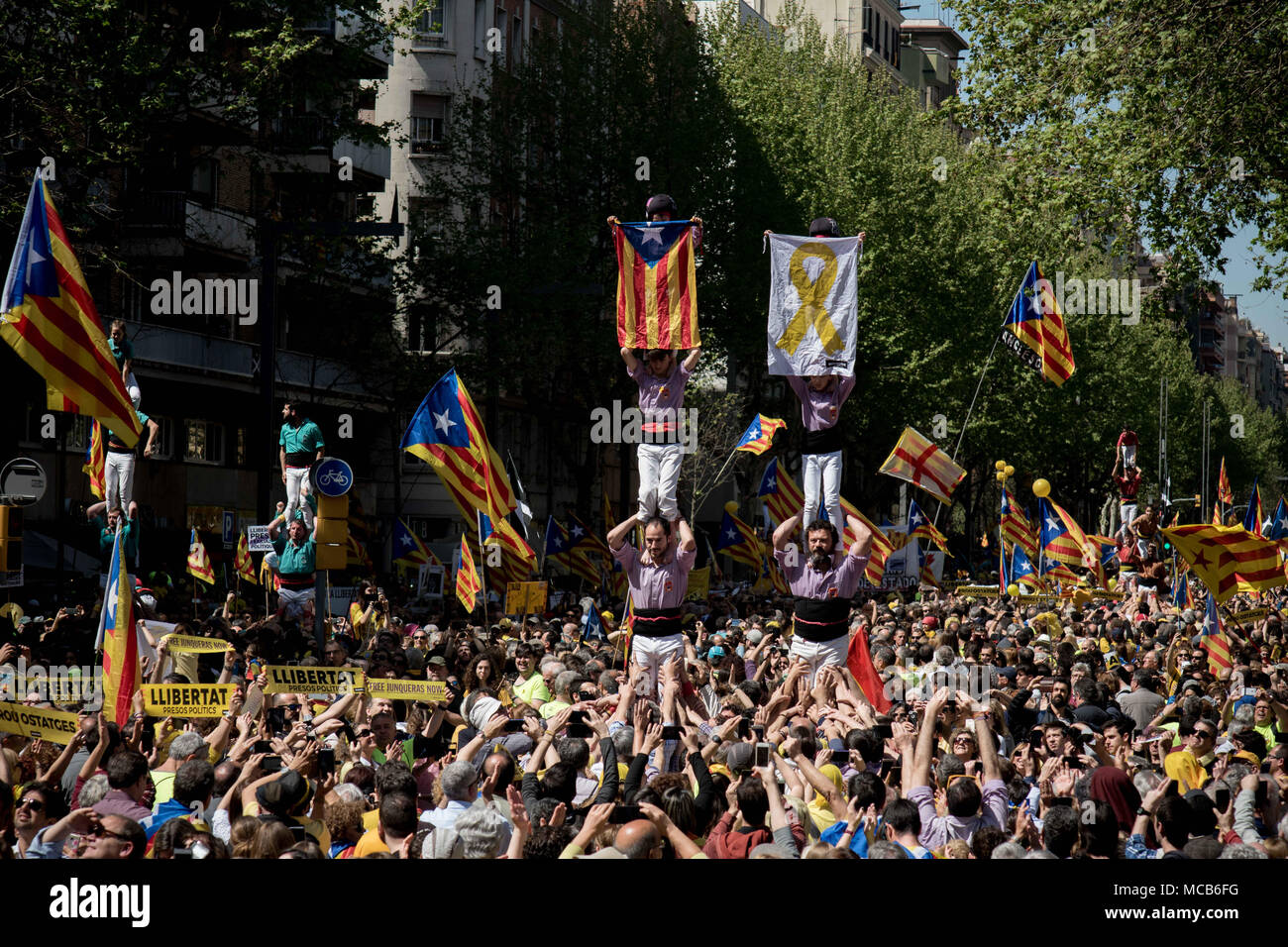 Castellers Form Human Towers Or Castells Among Hundreds Of Thousands  Pro-Independence Supporters Marching By The Streets Of Barcelona Demanding  The Release
