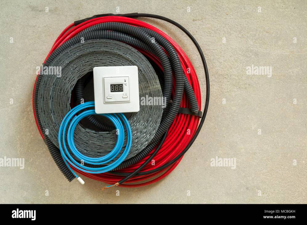 medium resolution of heating floor system wires cables and control panel renovation and construction concept comfort house