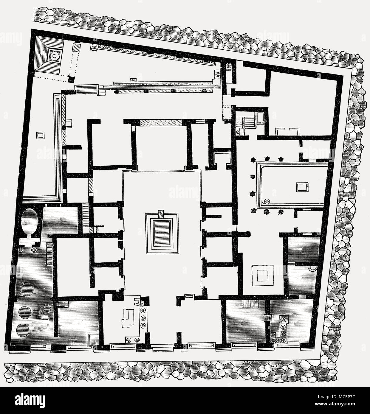 hight resolution of plan of the house of sallust ancient roman city of pompeii