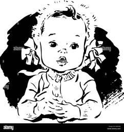 baby girl in bonnet retro clipart illustration [ 1300 x 1356 Pixel ]