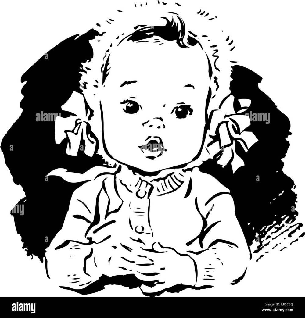 medium resolution of baby girl in bonnet retro clipart illustration