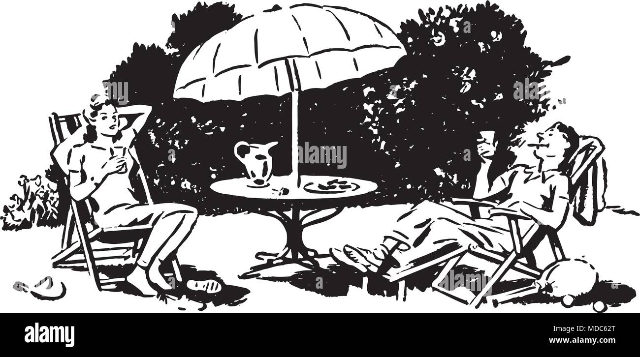 hight resolution of backyard lounging retro clipart illustration