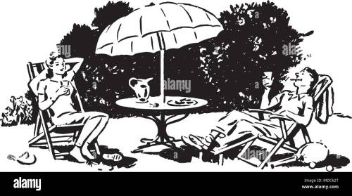 small resolution of backyard lounging retro clipart illustration