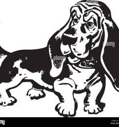 basset hound retro clipart illustration [ 1300 x 1154 Pixel ]