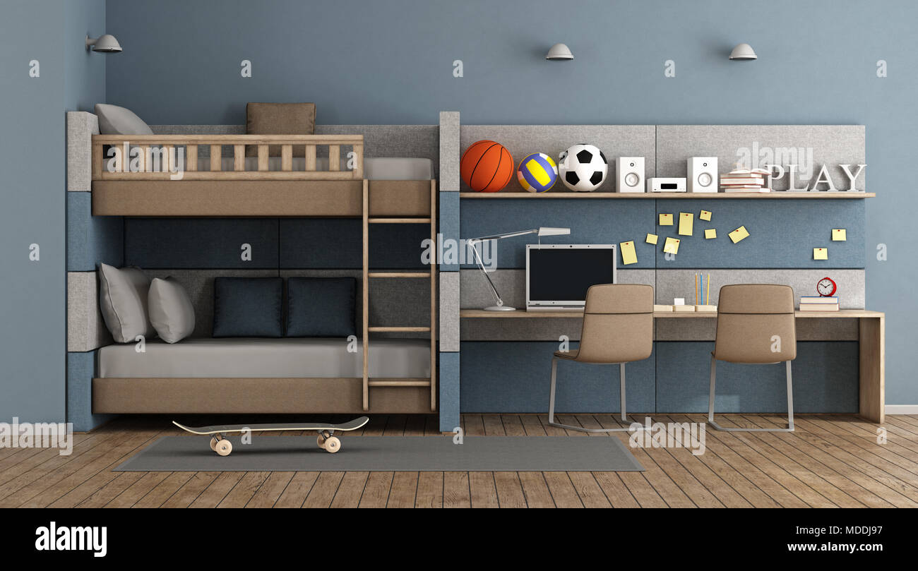 Teen Room Chair Blue Teen Room With Bunk Bed Desk And Chair 3d Rendering Stock