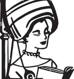 beauty salon hair dryer retro clipart illustration [ 825 x 1390 Pixel ]