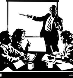 board meeting retro clipart illustration [ 1300 x 1111 Pixel ]
