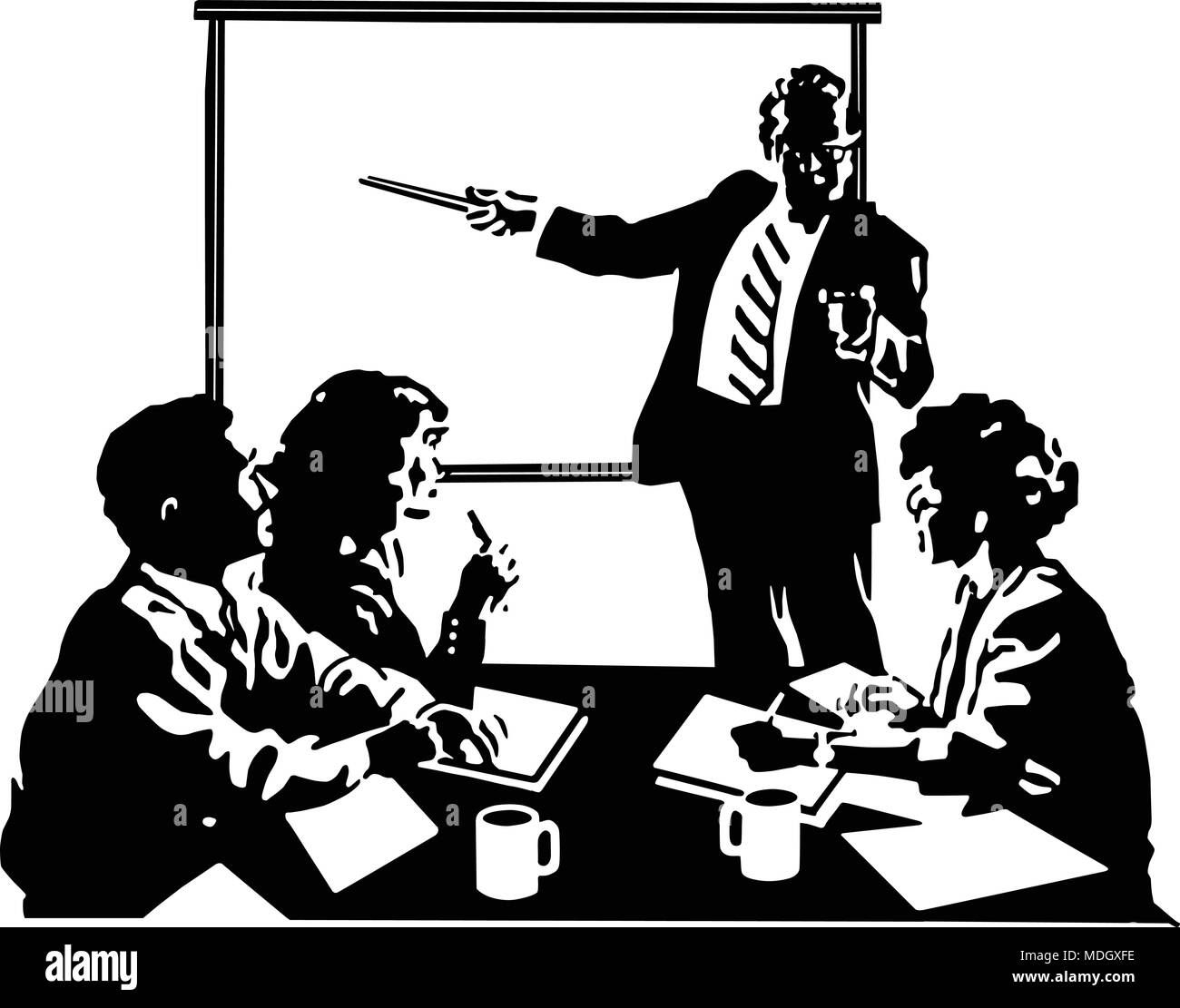 hight resolution of board meeting retro clipart illustration