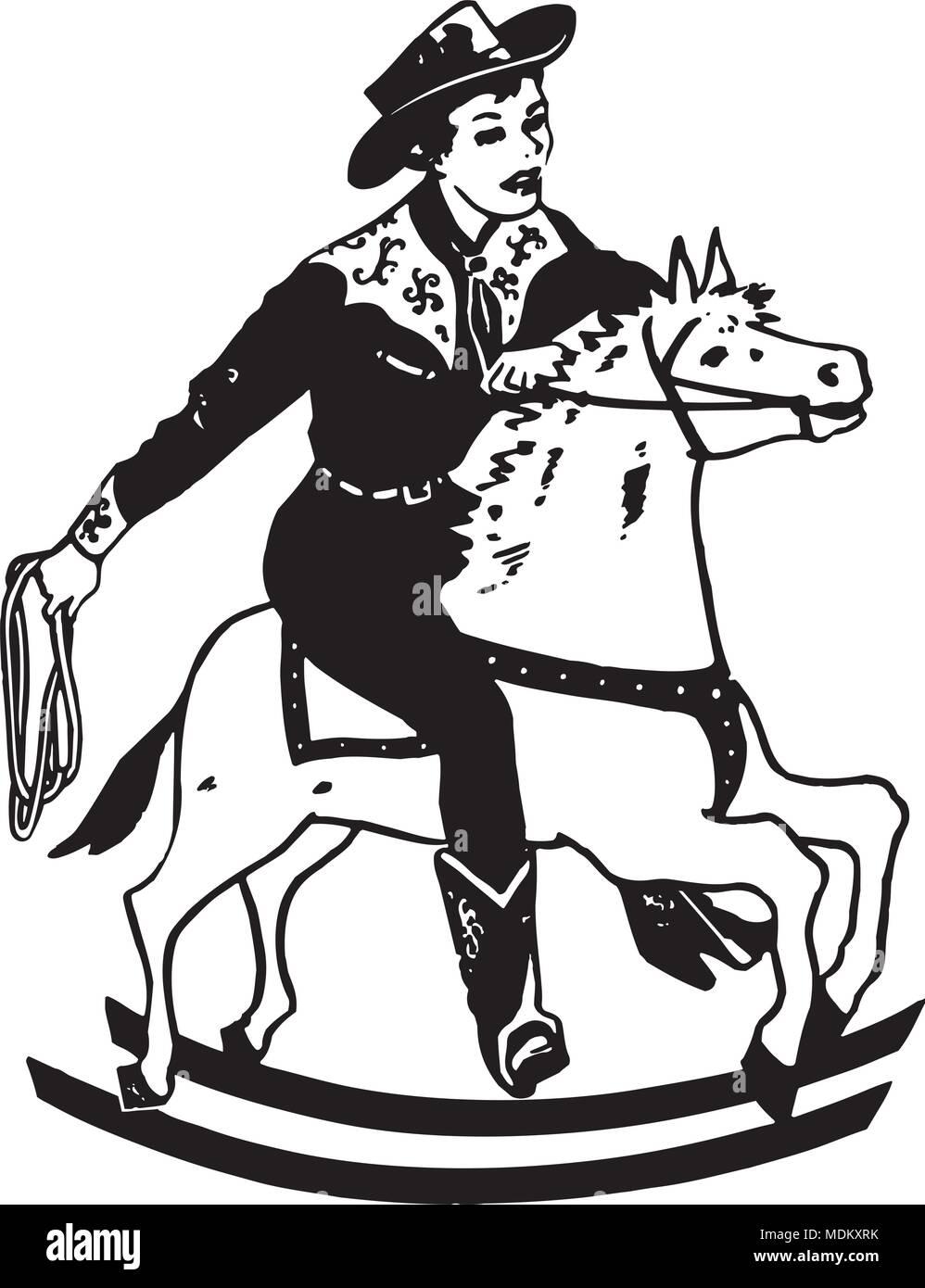 hight resolution of boy on rocking horse retro clipart illustration
