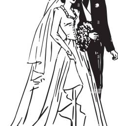 bride and groom retro clipart illustration [ 893 x 1390 Pixel ]