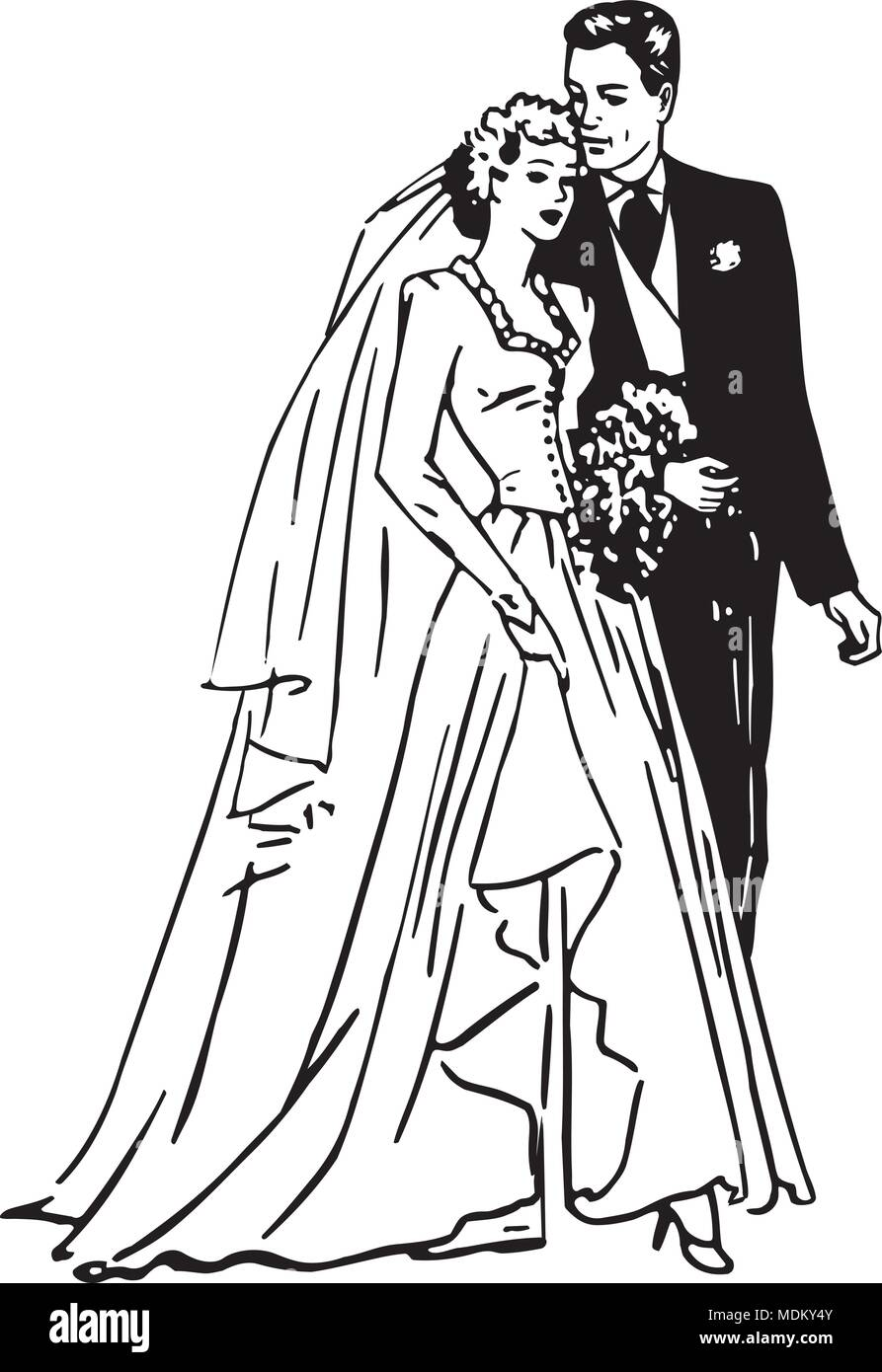 hight resolution of bride and groom retro clipart illustration