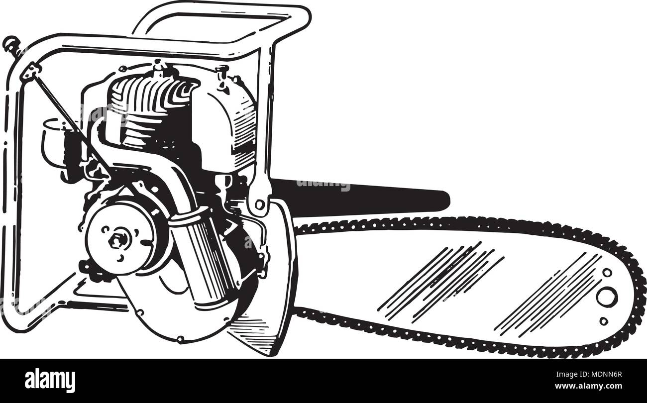 hight resolution of chain saw retro clipart illustration