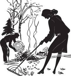 couple raking leaves retro clipart illustration [ 875 x 1390 Pixel ]