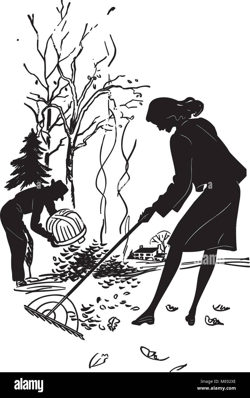 hight resolution of couple raking leaves retro clipart illustration
