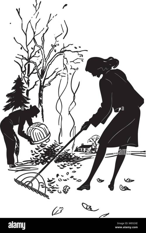 small resolution of couple raking leaves retro clipart illustration