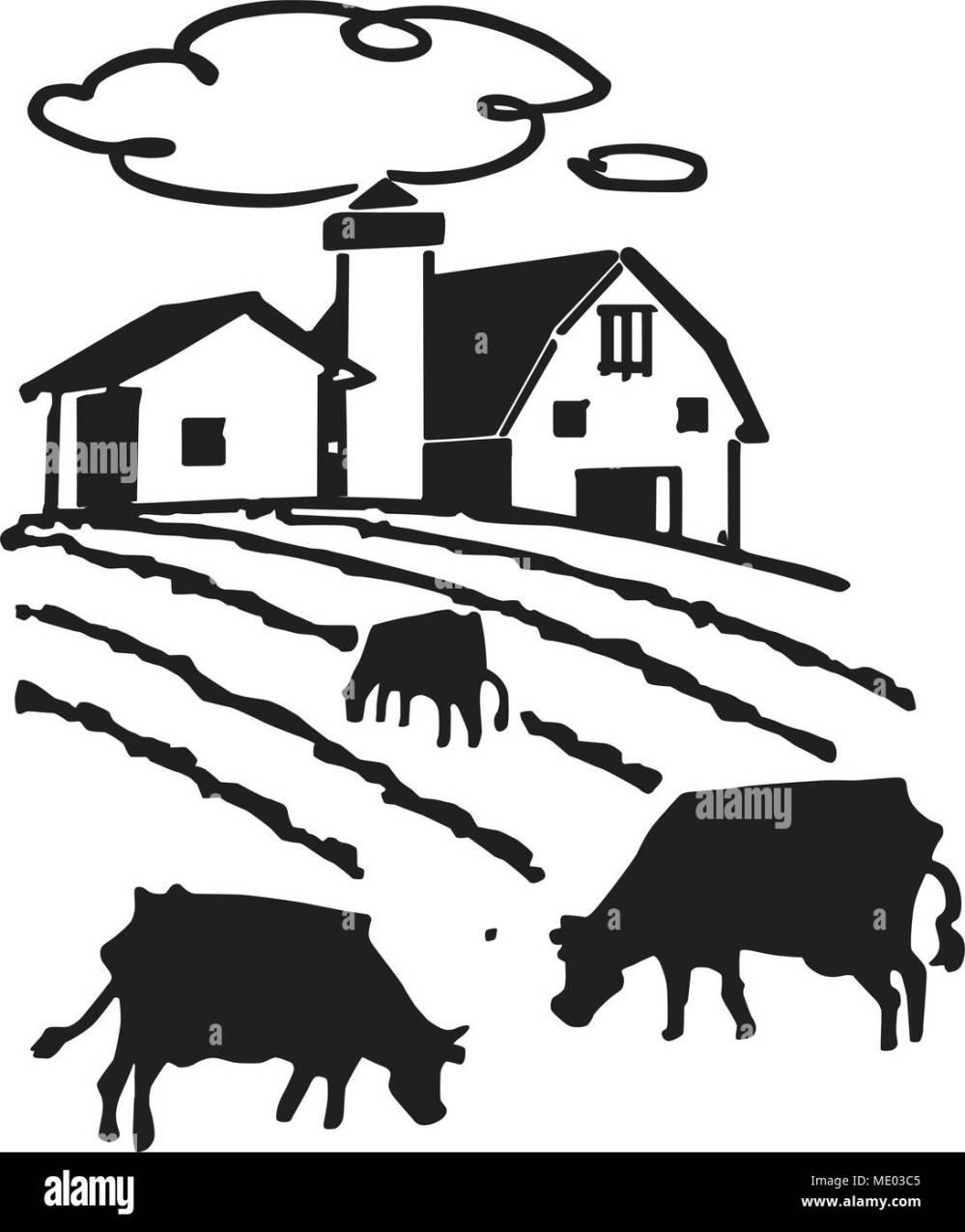medium resolution of cows grazing on farm retro clipart illustration