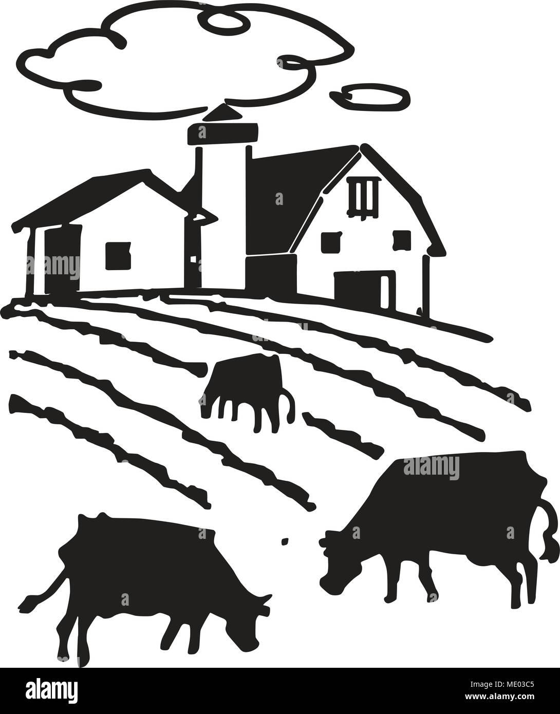 hight resolution of cows grazing on farm retro clipart illustration