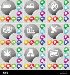 battery transport reload truck diagram satellite dish marijuana network bar code sign icon a set of seventy two colorful round buttons stick [ 1300 x 1390 Pixel ]