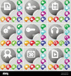 diagram file scissors survey gear key headphones medal calendar media file sign icon a set of seventy two colorful round buttons stickers v [ 1300 x 1390 Pixel ]