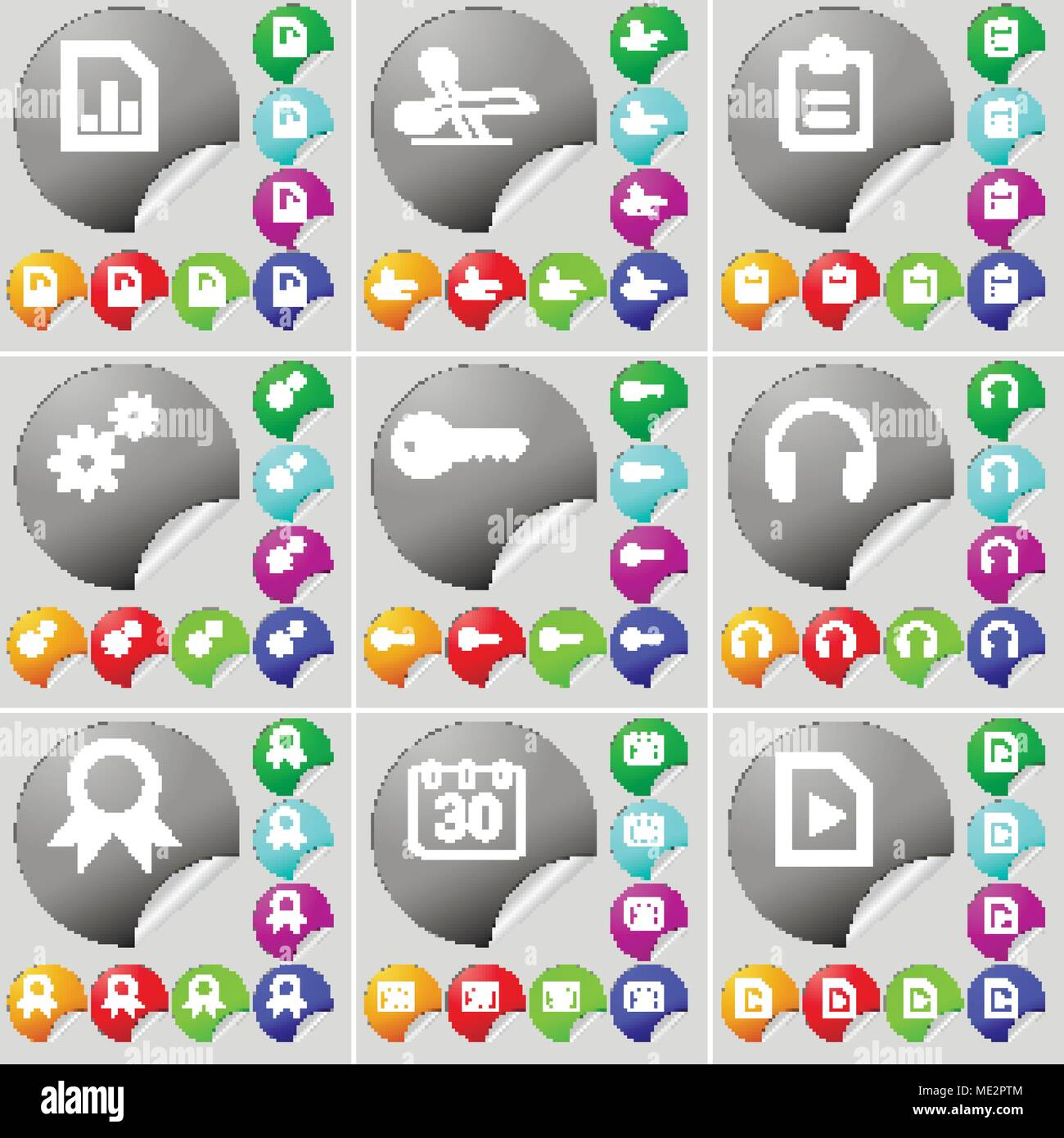 hight resolution of diagram file scissors survey gear key headphones medal calendar media file sign icon a set of seventy two colorful round buttons stickers v