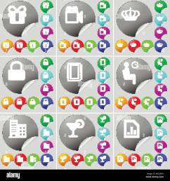 gift film camera crown lock notebook silhouette building cocktail diagram file sign icon a set of seventy two colorful round buttons sticker [ 1300 x 1390 Pixel ]