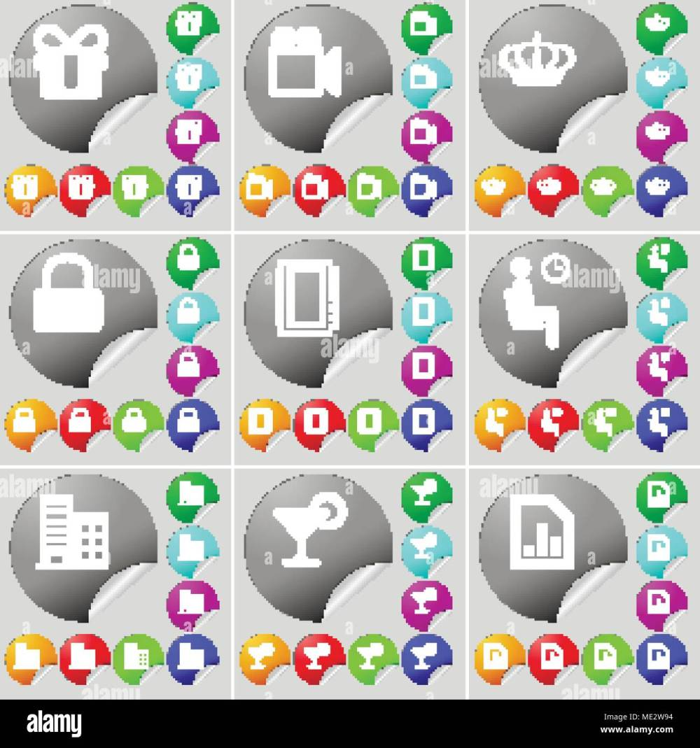 medium resolution of gift film camera crown lock notebook silhouette building cocktail diagram file sign icon a set of seventy two colorful round buttons sticker