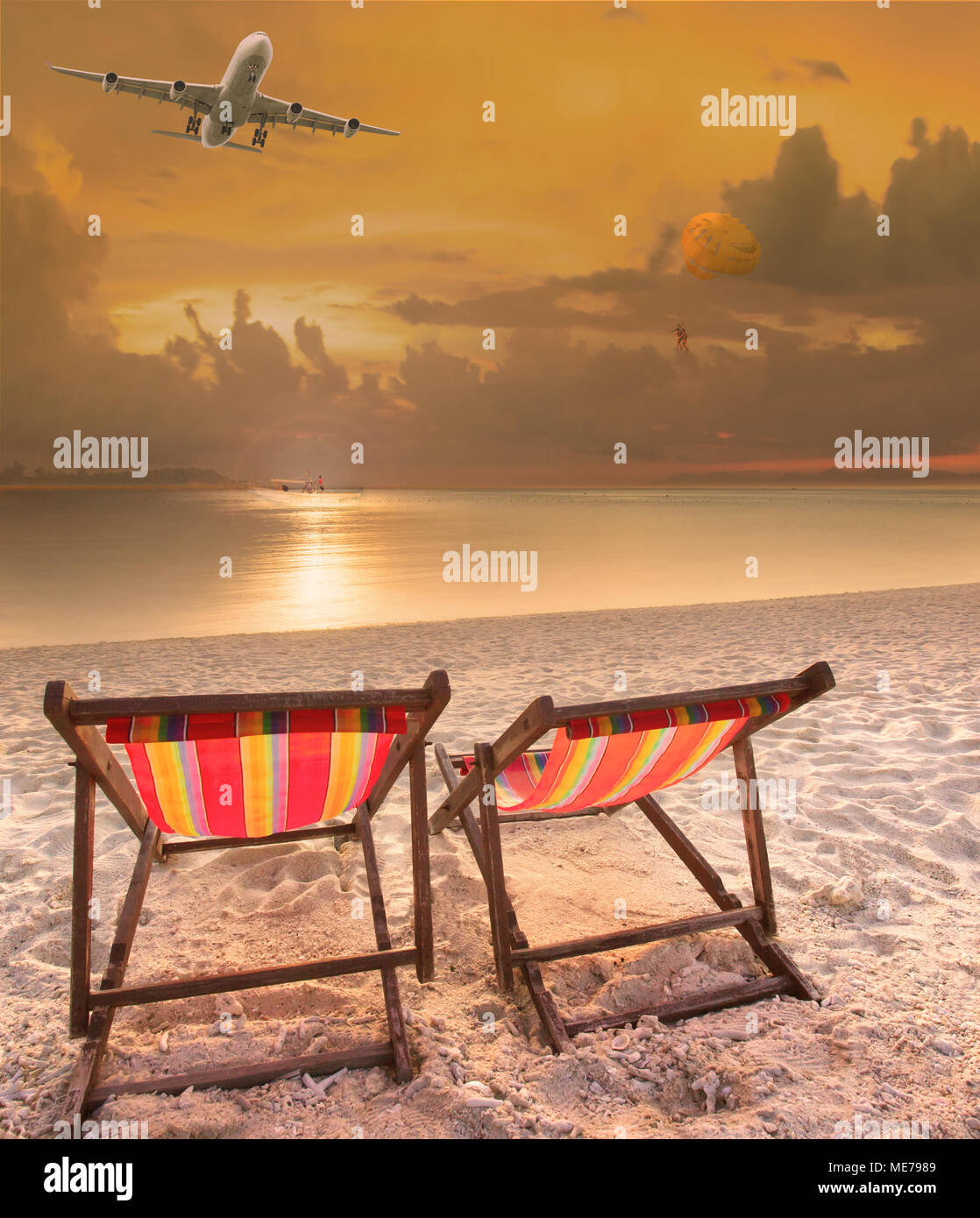 air travel beach chairs office houston texas at sea and passenger plane flying above stock