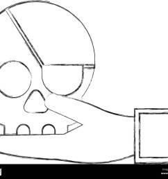 cyber security hand holding skull bone stock vector [ 1300 x 1081 Pixel ]