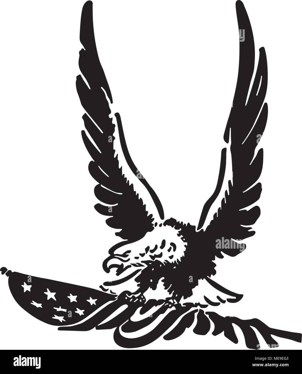 medium resolution of defiant american eagle retro clipart illustration