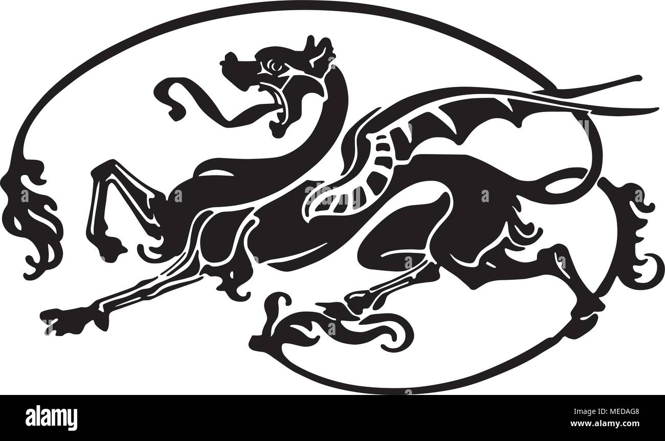 hight resolution of dragon tattoo retro clipart illustration