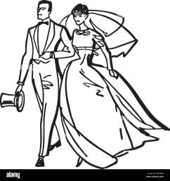 elegant bride and groom retro clipart illustration [ 1300 x 1383 Pixel ]