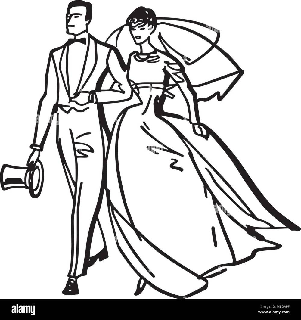 medium resolution of elegant bride and groom retro clipart illustration