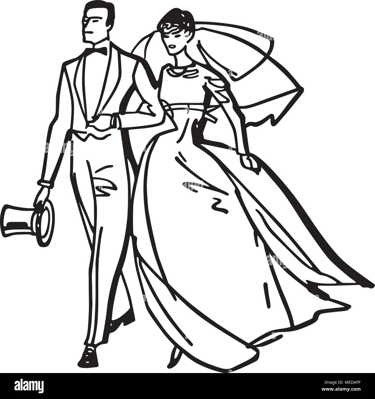 hight resolution of elegant bride and groom retro clipart illustration
