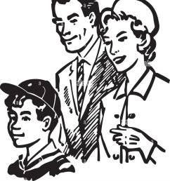 family of three retro clipart illustration [ 1135 x 1390 Pixel ]
