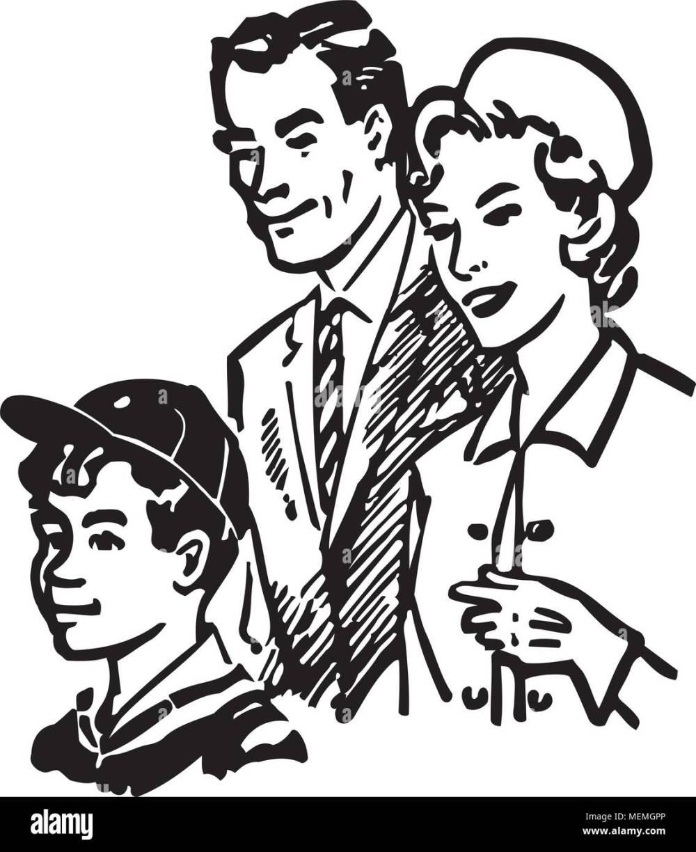 medium resolution of family of three retro clipart illustration