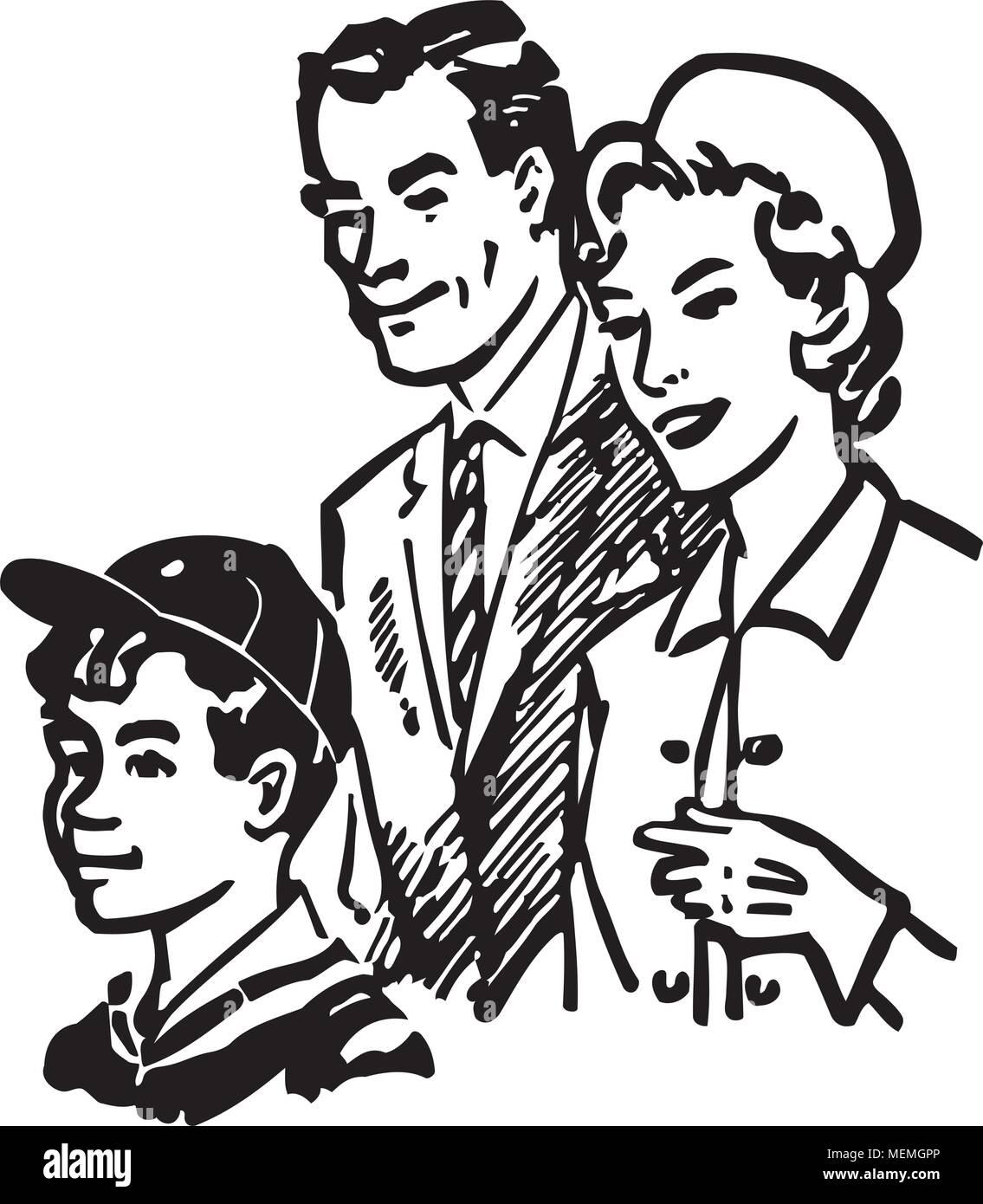 hight resolution of family of three retro clipart illustration