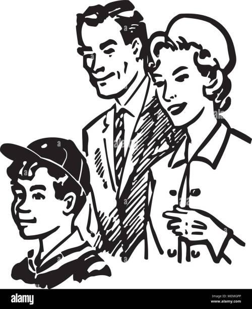 small resolution of family of three retro clipart illustration
