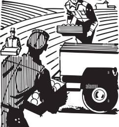 farm workers retro clipart illustration [ 1090 x 1390 Pixel ]