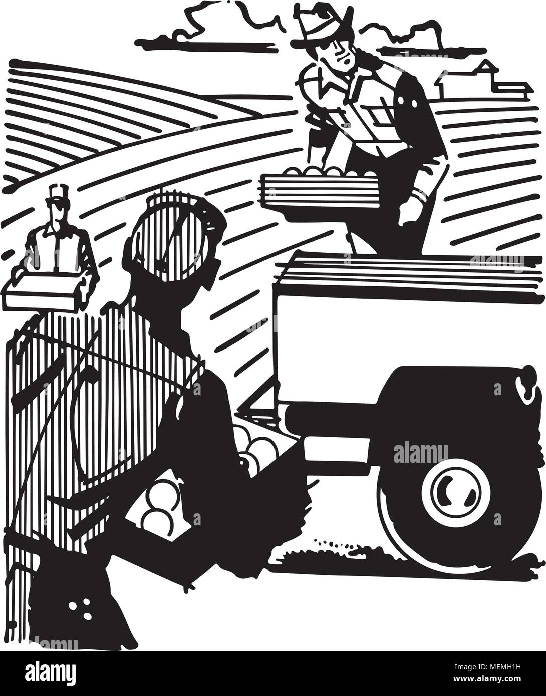 hight resolution of farm workers retro clipart illustration