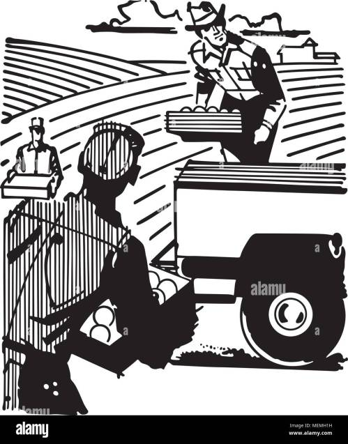 small resolution of farm workers retro clipart illustration