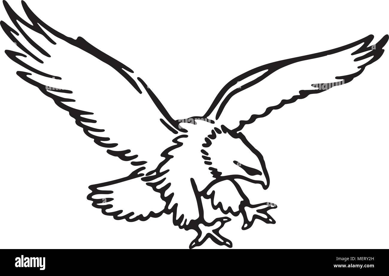hight resolution of flying eagle retro clipart illustration